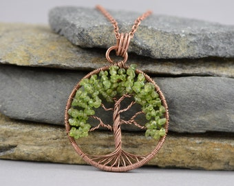 Peridot Necklace Peridot Pendant Tree-Of-Life Necklace Copper Wire Wrapped Pendant Rustic Talisman AUGUST Birthstone Amulet Copper Jewelry