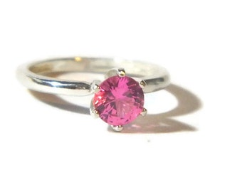 1 Carat Promise Ring, Pink Sapphire, Anniversary Ring, Engagement Ring