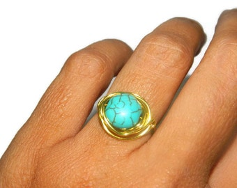 Turquoise Ring, Wire Wrapped, Size 6