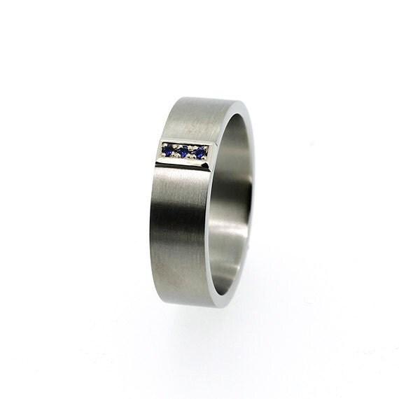 Men blue Sapphire ring made from palladium, Men wedding band, wedding ring men, Blue, sapphire, commitment ring, promise, palladium ring men