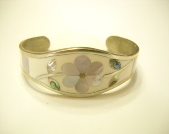 Vintage Mexican Silver Cuff Bracelet (9441) Abalone & Mother Of Pearl, Alpaca, Mexico