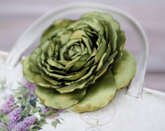 Green Hair Clip, Shabby Chic Hair Flower, Lime Green Hair Flower, Lime Green Wedding Flower, Green Satin Hair Rose