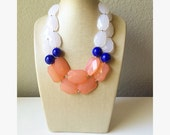 Coral, Royal Blue, & White Big Bead Necklace, peach Double Strand Statement Jewelry, Chunky bib bridesmaid, everyday bubble jewelry