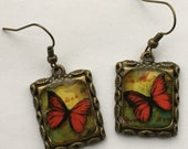Butterfly Earrings 3D Picture Jewelry Dimensional Red Yellow Bronze Butterfly