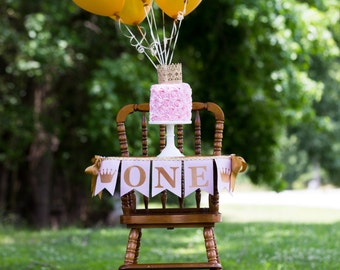 PINK and GOLD First BIRTHDAY High Chair Banner / 1st birthday girl /  High chair banner girl / One high chair banner / I am one banner