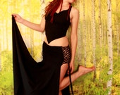 Lace up Goddess Warrior Skirt in Black, New Age, Witch, Festival Couture