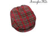 Christmas Plaid Newsboy Hat, Baby, Boys  Hat, Toddler Flat Cap, Christmas Outfit, Holiday Fashion for Kids