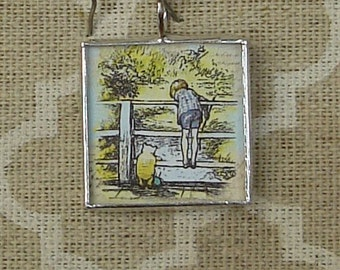 Winnie the Pooh and Christopher Robin storybook charm pendant soldered glass pendant charm