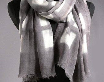 SALE • Use 40% Off Coupon: HOLIDAY40 • Wool Scarf Large Shibori Shawl in Gray and White