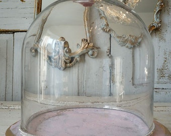 Glass display dome with base shabby cottage chic pink gold tray cloche adorned rhinestone porcelain rose knob home decor anita spero design