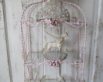 Ornate twisted metal wire w/ glass shelf wall hanging shabby cottage chic vintage pink embellished tole roses home decor anita spero design