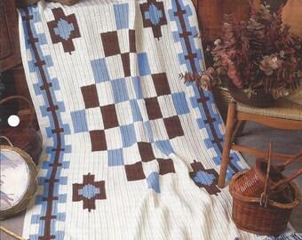 Southwest Afghan Crochet Blanket Pattern, Sofa Throw, Southwest Decor, Home Decor, Bedspread, Bedding, Annie's Crochet Quilt