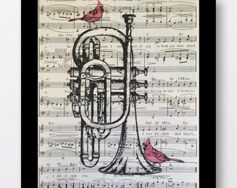Red Cardinals Cornet Music  Print- Musical Cornet Mixed Media art print on 8x10 Vintage Music Sheets, Music Room Decor, Musical Prints