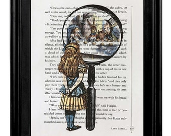 """Alice in Wonderland Through The Looking Glass, """"Alice In Wonderland Print on Alice In Wonderland Book PAge"""