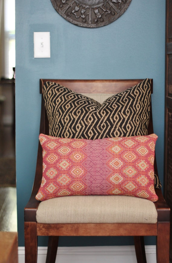 Modern Moroccan Pillows : Pink Geometric Pillow Cover Modern Pink Orange Moroccan