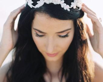 Bridal Crown. Wedding Tiara. Beaded Bridal Halo {Sophia}