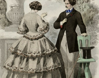 1851 Antique FASHION lithograph of a young couple with woman and man. Ancient clothing. Jane Eyre era. 165 years old gorgeous lithograph