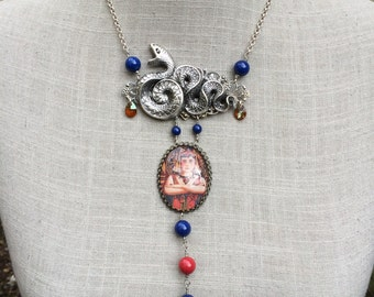 "Art nouveau necklace, cabochon, snake and pearls ""Cléopatra""!"