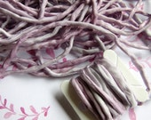 Hand Dyed Silk Ribbon - Silk Cord - Silk String - jewelery supplies - Pink and Silver