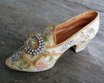 vintage miniature shoe statue collectible resin with rhinestone buckle tapestry design 18th century style marie antoinette