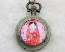 Necklace Pocket watch Russian doll matriochkas