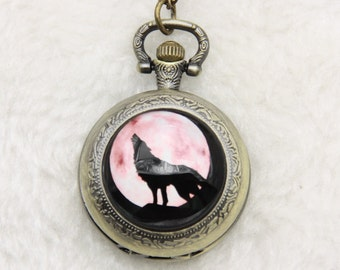 Necklace Pocket watch wolf and moon