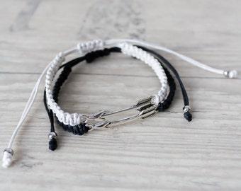 Black and white arrow bracelets Couples set His and her bracelet Friendship bracelet set Best friend gift Matching couple bracelets Set of 2