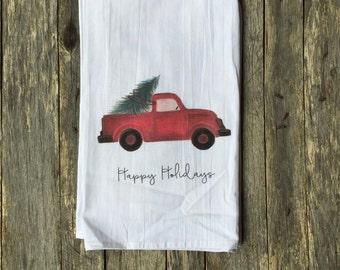 Red Truck Tea Towel