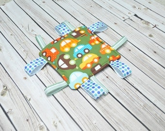 Infant Ribbon Toy - Infant Crinkle Toy - Boy Crinkle Sensory Toy - Green with Cars