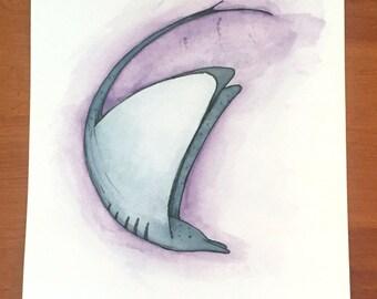 Manta Ray Watercolor Illustration - Print