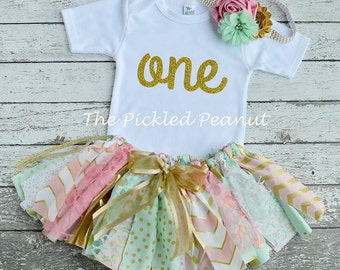 Pink Mint Gold Birthday Outfit Birthday Tutu 1st Birthday Girls Birthday Dress Baby Tutu Shabby Chic Birthday Fabric Tutu Baby Girl Skirt