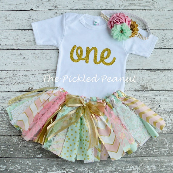 Pink mint gold birthday outfit birthday tutu 1st birthday - Shabby chic outfit ideas ...