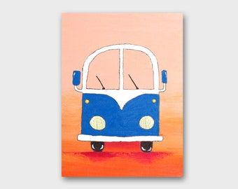 VW bus art Volkswagen painting - acrylic painting for children summer party - volkswagen bus - boys bedroom art - retro wall decor pop art