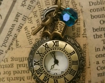 Alice in Wonderland Pocket Watch Necklace Steampunk Pocket Watch Necklace