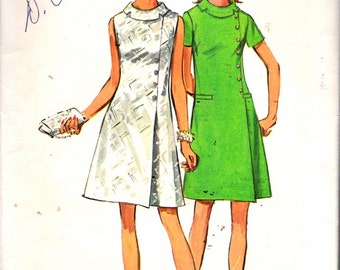"""Vintage 1969 Simplicity 8541 Jiffy Roll Collar Dress Sewing Pattern Size 16 Bust 38"""""""