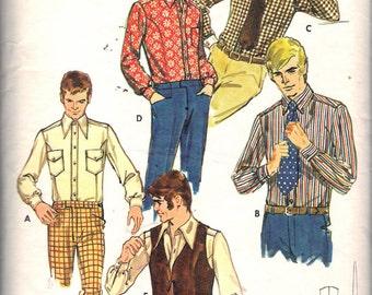 """Vintage 1970's Butterick 5897 Men's Shirt, Vest & Tie Sewing Pattern Size Neck 16"""" Chest 42"""""""