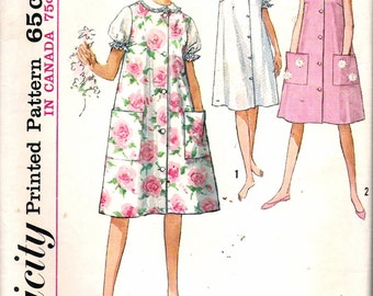 Vintage 1963 Simplicity 5264 Misses' Nightgown & Duster or Sleeveless Dress Sewing Pattern Size 14 Bust 34""