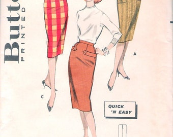 Vintage 1960 Butterick 8682 1 YD. Slim Skirt Sewing Pattern Size Waist 24 1/2""