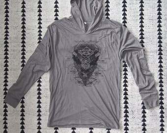 Bison Hoodie - Charcoal Black Halftone Screenprint on a Venetian Gray Colored Lightweight Hoodie perfect for Festival Wear