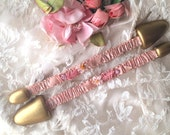 Authentic Antique RibbonWork Silk Rose Flowers on Shoe Stretchers Ribbon Work from the Flapper Era or Older