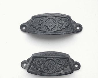 Antique Drawer Pulls, Pair of Cast Iron Drawer Pulls with Eastlake Design, Floral Pattern, Eastlake Bin Pulls, Cup Pulls