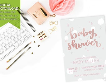 Customised Baby Shower Invitation - Baby Girl Rose Gold Pink DIY Printable Download