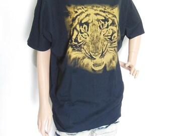 Tiger Face Animal Style Tiger T-Shirt Girl Teens Women Shirt Bat Sleeve Black T-Shirt Oversize Brown Screen Print Free Size