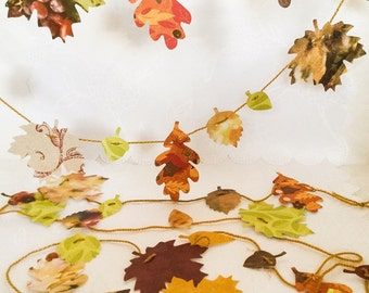 Handmade Leaf Garland - Colorful Leaves - Fall Leaves garland - Thanksgiving decoration - adjustable garland - fall garland - autumn garland