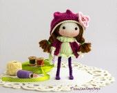 JayMee. The Doll. PDF knitting pattern. Cute girl gift. Kawaii doll pattern.