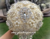 Silver and Ivory Wedding Brooch Bouquet, Cream Ivory Brooch Bouquet, BALANCE for completed Bouquet for Karena Only