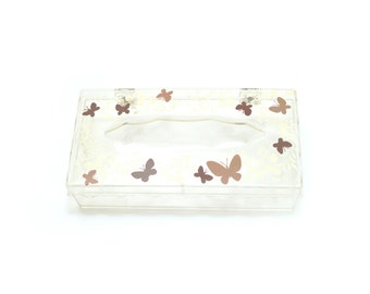 70s Clear Plastic Novelty Butterfly Tissue Box Holder Case