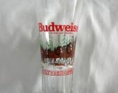 Pilsner Beer Glass | Budweiser Clydesdales Pilsner Beer Glass | Vintage 1992