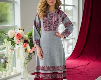 "Warm knitted dress ""Beauty"" with jacquard pattern in Russian style"