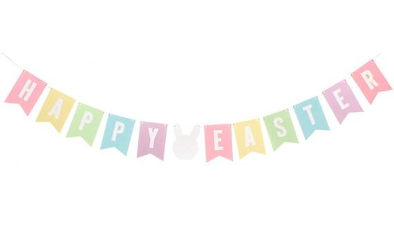 Pastel Easter Flag Banner / Happy Easter Banner / Easter Bunny
